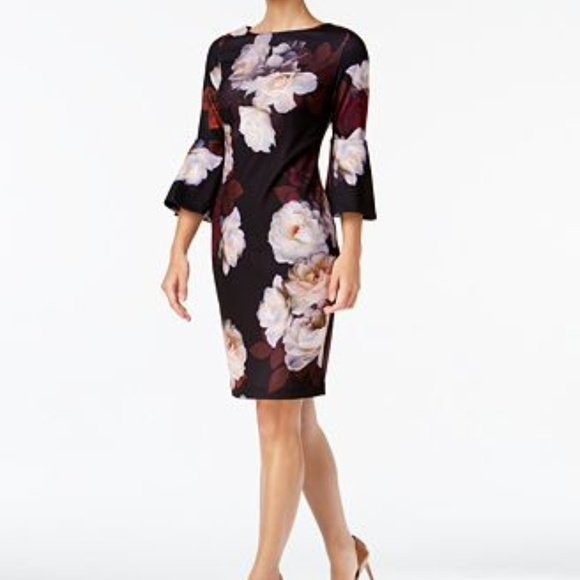 a6bf6f0c Calvin Klein Dresses   Nwt Floral Bell Sleeve Dress   Poshmark